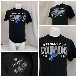 St. Louis Blues Shirt M Black Short Sleeve 100% Cotton Stanley Cup YGI U0-404