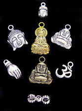 8 pc Buddha Pendants Charms Silver Dorje Vajra Zen Bronze Yoga Buddhism OHM GOLD