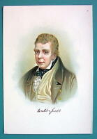 SIR WALTER SCOTT Scottish Poet - VICTORIAN ERA Color Litho Print