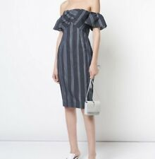 """Kimora Lee Simmons NWT $795 """"CORAL"""" Striped Dress in Navy & Gray, Size 8     Z22"""