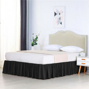 Soft Bed Ruffle Skirt Cover Fit Wrap Around Twin Full Queen King Bed Skirt