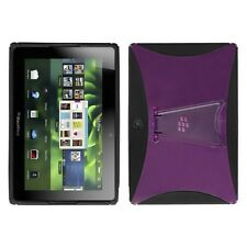 Transparent Purple/Black With Stand Gummy Cover Case for BlackBerry Playbook