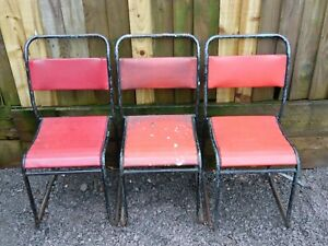 Vintage Industrial Tubular Metal Stacking Chairs with Red Padded Seat & Backs x3