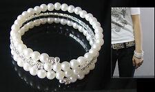Bracciale in perle bianche e strass tre giri ,braccialetto a spirale da donna