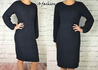 NEXT PREMIUM 100% COTTON CABLE KNIT NAVY BLUE LONG SLEEVED LADIES DRESS 193