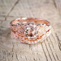 2Pcs Fashion Rose Gold 18K Filled White Topaz Wedding Engagement Ring SZ5-10