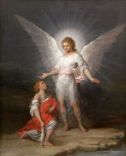 ZOPT439 angel portrait with little girl handing fish oil painting  art canvas