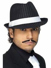 Black Trilby Hat Adults 20s Gangster Pin Sripe Black Fancy Dress