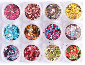 Laser Holographic 3D Round Star Heart Nail Art Sequins Flakes Glitter Foils Jar