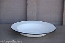 Old Vintage Graniteware / Enamelware Soup Bowl White / Black Kitchen Tool Decor