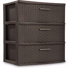 Plastic 3 Wide Drawer Organizer Storage Kids Bedroom Dresser Toy Box Stackable