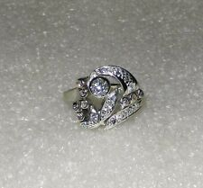 14K WHITE GOLD VINTAGE ART DECO DIAMOND RING - SIZE 6.5  -  LB2015