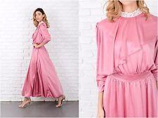 Vintage 70s Pink Asymmetrical Dress Boho Lace Maxi Hippie Large L