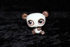Littlest Pet Shop~#414~Panda Bear White Brown~Orange Dot Eyes