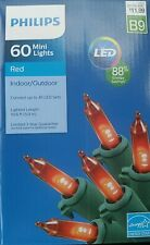 Philips 60 LED Red Mini Lights Indoor Outdoor Green Wire Christmas Valentine NEW