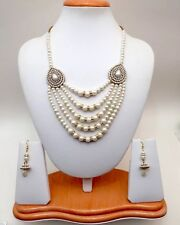 Indian Asian Bridal Jewellery Bollywood Party Ethnic Wear Pearls Necklace Set