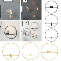 3D Metal Candlestick Wall Hanging Geometric Round Candle Holder Mount Home Decor
