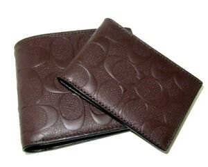 Coach F75371 3 In 1 Men's Compact ID Wallet Mahogany C Embossed Leather NWT $188