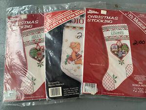 Vintage Christmas Cross Stitch Stocking Kits Three Needles 1980's  Lot 3 Crafts