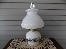 Vintage Currier & Ives Hurricane Oil Lamp w/ Country Farm Scene & Hobnail Shade