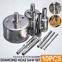10PCS Diamond Hole Saw 3-50mm Drill Bit Saw Set Tile Ceramic Marble