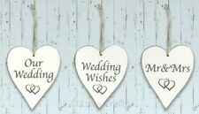 Whitewashed Oak Wood Heart Shape Hanging Plaque - Choice of Wedding Sentiments