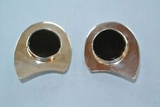 """Vintage Mexico 925 Sterling Silver Geometric Black Onyx 1.5"""" clip on Earrings"""