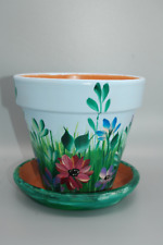 NEW Field flowers artist hand painted 6'' clay flower pot and saucer. Great gift