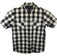 Pendleton Mens XL Blue Red Black White Flannel Short Sleeve Button Up Shirt
