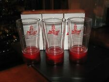 Budweiser Goal Synced Red Light Glass Limited Edition Set of 3 RARE Canada SYNC