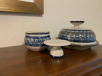 SET 2 SIGNED POTTERY BUTTER DISHES BLUE CREAM GREEN