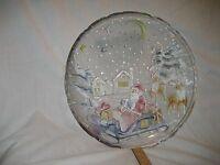 "Vtg Crystal Clear Santa Sleigh Bells Christmas Glass Serving 14"" Tray Platter"
