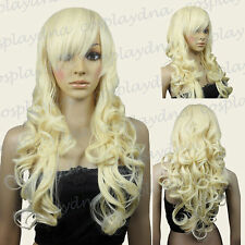 "28"" Heat Resistant Light Golden Blonde Curly Long Cosplay Wigs w Side Bangs 7LGB"