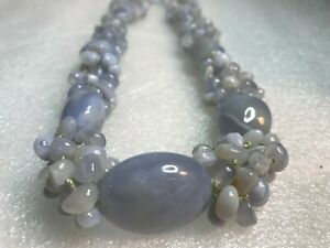 VINTAGE SAJEN Blue Lace Agate HAND KNOTTED Beaded Necklace CHUNKY DESIGN