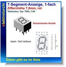 7-Segment-Anzeige, 1-fach, rot, 7mm, gemein. Anode, Telefunken TDSL1150, 2St