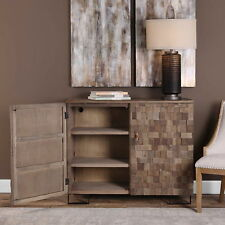 "47"" w Samantha Accent Cabinet hand crafted blocks recycled elm wood light brown"
