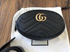 Gucci GG Marmont Matelasse Black Leather Belt Bag