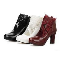 Women's Ladies Block High Heel Lace Ankle Boots Platform Party Pumps Casual Shoe