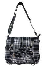 Lost Queen Steampunk Gothic Check Plaid Tartan Messenger Bag Purse BBN731BLK