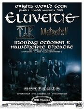 "ELUVEITIE/TYR/METSATOLL ""ORIGINS WORLD TOUR 2014"" PORTLAND CONCERT POSTER- Metal"