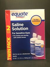 4 Bottles (2 Twin Packs) Equate Saline Solution Sensitive Eyes 12 fl. oz. each
