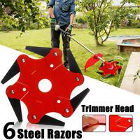 Upgrade 6 Steel Blades Razors Lawn Mower Grass Eater Trimmer Head Brush Cutter