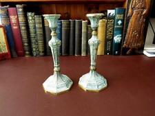 Pair Vintage Brass / Bronzed Candlesticks - Shabby Chic Distressed Candlesticks