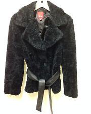 ESPIRIT Jacket Coat Vegan Faux Fur Belted Women's Size M