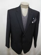 CHAPS Mens 100% Wool Sport Coat Jacket Blazer Lined Black Pinstripe 44S $220 New