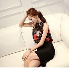 Summer Women Chiffon Ruffles Floral Printing T-shirt Sleeveless Blouse Tops
