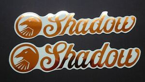 2 AUTHENTIC SHADOW CONSPIRACY BMX BIKES GOLD STICKERS #13 DECALS
