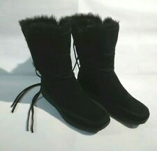 BHS Ladies Black Real Leather Faux Fur Winter Ankle Boots UK 7 / EU 40.5 New NWT