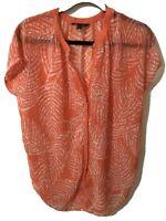 Banana Republic Women's Top Blouse XSMALL Orange Short Sleeve Buttons