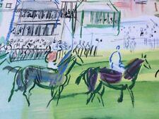 "RAOUL DUFY ""Epsom"" Original Stone Lithograph horse racing racetrack equestrian"